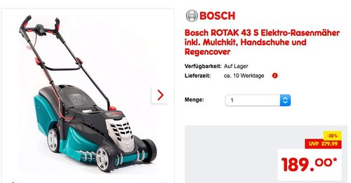 Bosch Elektro-Rasenmäher ROTAK 43 - jetzt 5% billiger