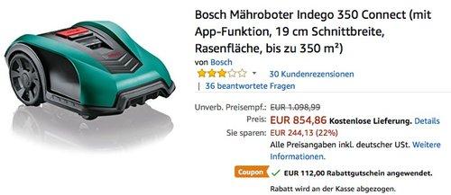 Bosch Mähroboter Indego 350 Connect - jetzt 13% billiger