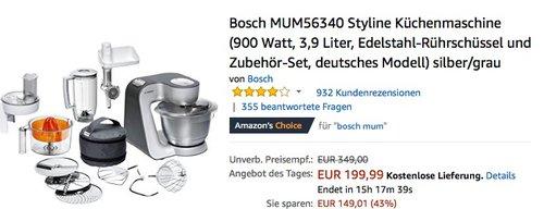 Bosch MUM56340 Styline Küchenmaschine silber - jetzt 15% billiger