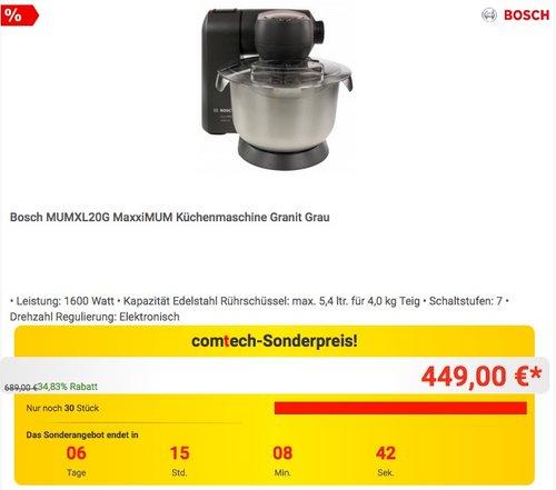 Bosch MUMXL20G MaxxiMUM Küchenmaschine - jetzt 19% billiger