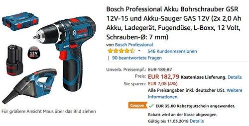 Bosch Professional Akku Bohrschrauber GSR 12V-15 und Akku-Sauger GAS 12V Set - jetzt 16% billiger