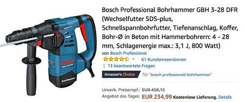Bosch Professional Bohrhammer GBH 3-28 DFR (Wechselfutter SDS-plus, Schnellspannbohrfutter, Tiefenanschlag, Koffer) - jetzt 19% billiger