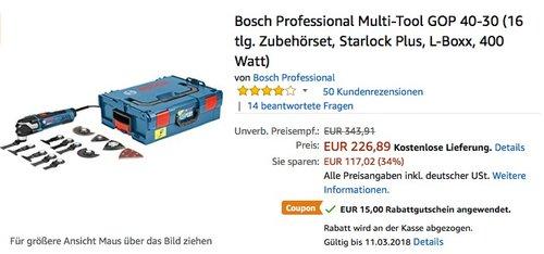 Bosch Professional Multi-Tool GOP 40-30 (16 tlg. Zubehörset, Starlock Plus, L-Boxx, 400 Watt) - jetzt 7% billiger