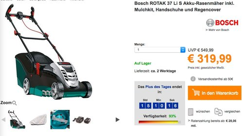 Bosch ROTAK 37 Li S Akku-Rasenmäher inkl. Mulchkit, Handschuhe und Regencover - jetzt 11% billiger