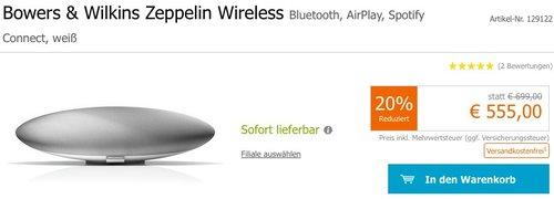 Bowers & Wilkins Zeppelin Wireless-Musiksystem - jetzt 21% billiger