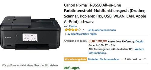 Canon Pixma TR8550 All-in-One Farbtintenstrahl-Multifunktionsgerät - jetzt 22% billiger
