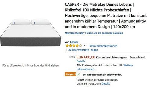 CASPER - Die Matratze Deines Lebens 140x200 cm - jetzt 15% billiger