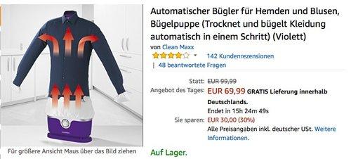 CLEANmaxx automatischer Bügler für Hemden und Blusen - jetzt 13% billiger