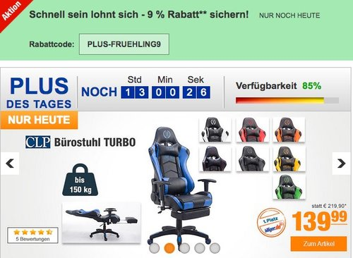 CLP Bürostuhl TURBO mit Kunstlederbezug für - jetzt 20% billiger