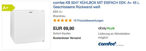 Comfee KB 5047 Mini-Kühlschrank - jetzt 12% billiger