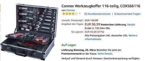 Connex Werkzeugkoffer 116-teilig COX566116 für 96,99€ - jetzt 15% billiger