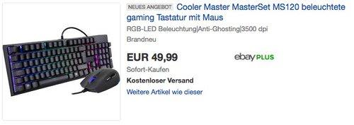 Cooler Master SGB-3050-KKMF1-DE MasterSet MS120 mit RGB Memchanical Gaming Tastatur und Maus - jetzt 28% billiger