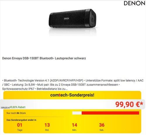 Denon Envaya DSB-150 Bluetooth Lautsprecher schwarz - jetzt 28% billiger