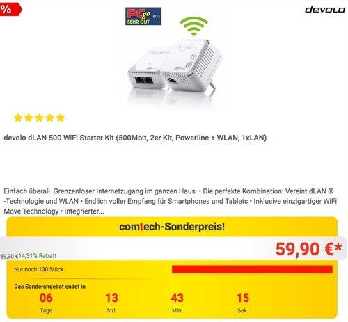 devolo dLAN 500 WiFi Starter Kit - jetzt 16% billiger