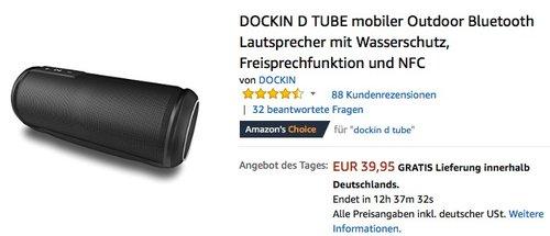 DOCKIN D TUBE mobiler Outdoor Bluetooth Lautsprecher mit Wasserschutz, Freisprechfunktion und NFC - jetzt 17% billiger