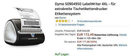 Dymo S0904950 LabelWriter 4XL Tischetikettendrucker - jetzt 18% billiger