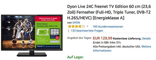 Dyon Live 24C freenet TV Edition 60 cm (23,6 Zoll) Fernseher - jetzt 12% billiger