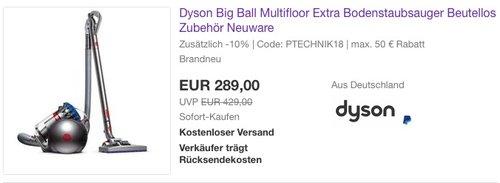Dyson Big Ball Multifloor Extra Bodenstaubsauger - jetzt 10% billiger