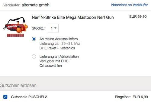 eBay 10% Rabat-Aktion auf Spielzeug: Nerf N-Strike Elite Mega Mastodon Nerf Gun - jetzt 21% billiger