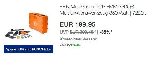 eBay 10% Rabat-Aktion auf Handwerk: FEIN MultiMaster TOP FMM 350QSL Multifunktionswerkzeug - jetzt 17% billiger