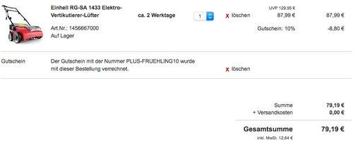 Einhell RG-SA 1433 Elektro-Vertikutierer-Lüfter - jetzt 12% billiger
