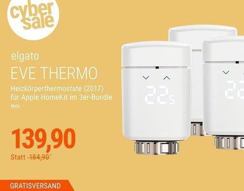 Elgato 3er Eve Thermo (2017) Heizkörperthermostat für Apple HomeKit - jetzt 24% billiger