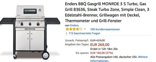 Enders BBQ Gasgrill MONROE 3 S Turbo, Gas Grill 83636 für 269€ - jetzt 30% billiger