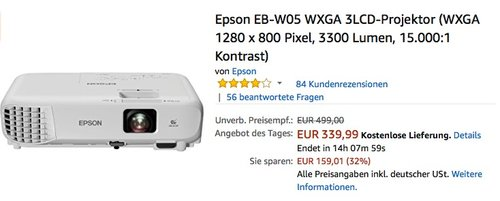 Epson EB-W05 WXGA 3LCD-Projektor - jetzt 20% billiger