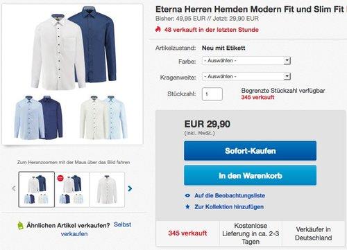 Eterna Herren Hemden Modern Fit und Slim Fit - jetzt 14% billiger