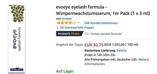 evoeye eyelash formula - Wimpernwachstumsserum, 1er Pack (1 x 3 ml) für 30,75€ - jetzt 23% billiger