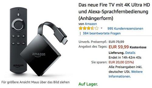 Fire TV mit 4K Ultra HD und Alexa-Sprachfernbedienung - jetzt 24% billiger