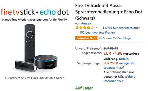Fire TV Stick mit Alexa-Sprachfernbedienung + Echo Dot - jetzt 25% billiger
