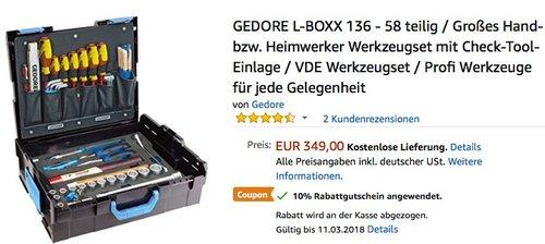 GEDORE L-BOXX 136 - 58 teilig, Großes Hand- bzw. Heimwerker Werkzeugset mit Check-Tool-Einlage - jetzt 10% billiger