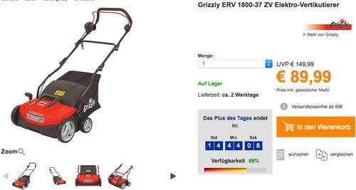 Grizzly ERV 1800-37 ZV Elektro-Vertikutierer - jetzt 35% billiger