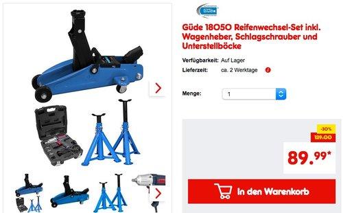 Güde 18050 Reifenwechsel-Set inkl. Wagenheber, Schlagschrauber und Unterstellböcke - jetzt 8% billiger