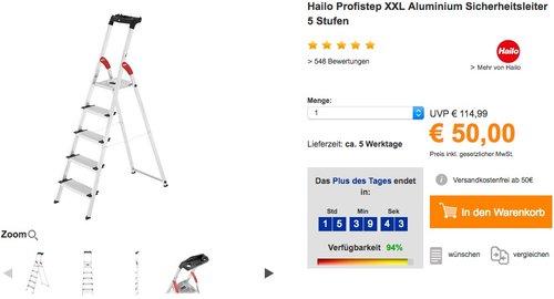 Hailo XXL Alu-Haushaltsleiter 5 XXL Stufen - jetzt 29% billiger