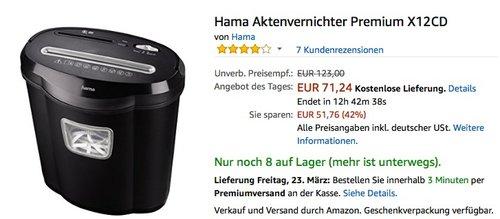 Hama Aktenvernichter Premium X12CD - jetzt 25% billiger