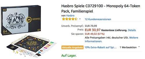 Hasbro Spiele C0729100 - Monopoly 64-Token Pack - jetzt 16% billiger