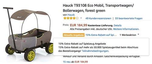 Hauck T93108 Eco Mobil Transportwagen - jetzt 15% billiger