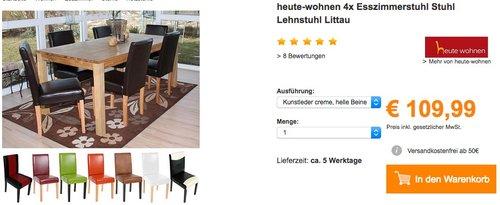 heute-wohnen 4x Esszimmerstuhl Stuhl Lehnstuhl Littau - jetzt 16% billiger