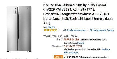 Hisense RS670N4BC3 Side-by-Side Kühlschrank - jetzt 10% billiger