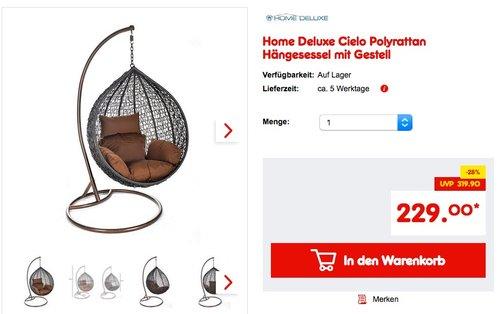 Home Deluxe Cielo Polyrattan Hängesessel mit Gestell - jetzt 9% billiger
