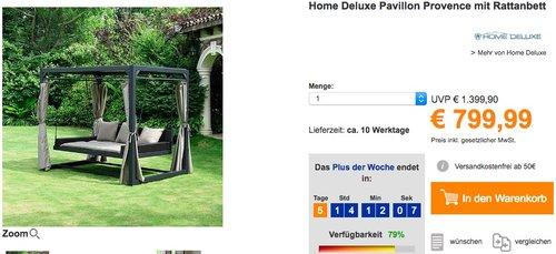 Home Deluxe Pavillon Provence mit Rattanbett - jetzt 11% billiger