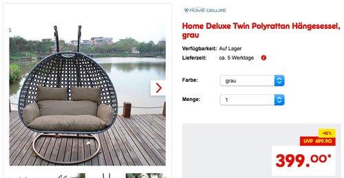 Home Deluxe Twin Polyrattan Hängesessel - jetzt 15% billiger