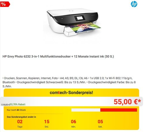 HP Envy Photo 6232 3-in-1 Multifunktionsdrucker + 12 Monate Instant Ink (50 S.) - jetzt 30% billiger
