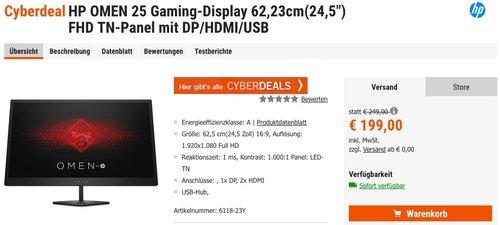 "HP OMEN 25 Gaming-Display 62,23cm (24,5"") - jetzt 18% billiger"