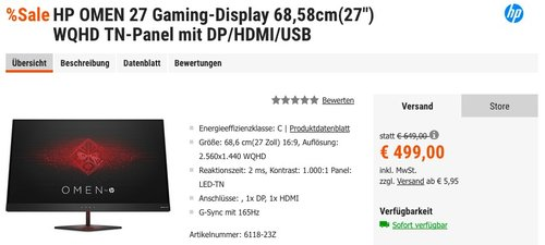 """HP OMEN 27 Gaming-Display 68,58cm(27"""") WQHD TN-Panel mit DP/HDMI/USB - jetzt 13% billiger"""