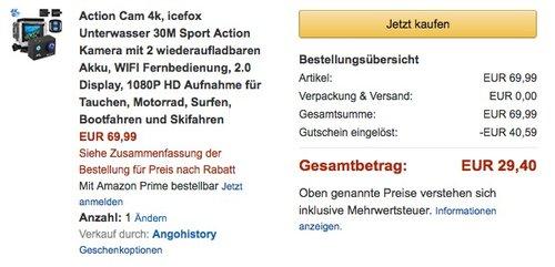 Icefox Action Cam 4K - jetzt 58% billiger
