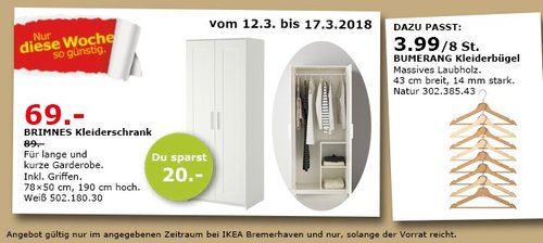 IKEA BRIMNES Kleiderschrank - jetzt 22% billiger