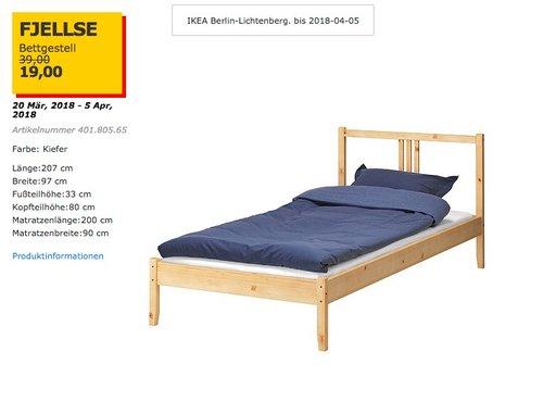 IKEA FJELLSE Bettgestell - jetzt 51% billiger